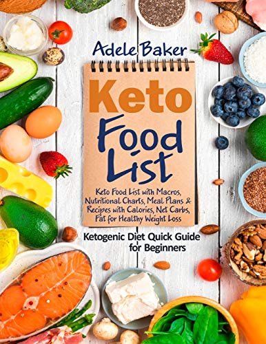 Keto Food List: Ketogenic Diet Quick Guide for Beginners: Keto Food List with Macros, Nutritional Charts Meal Plans & Recipes with Calories Net Carbs Fat for Healthy Weight Loss.