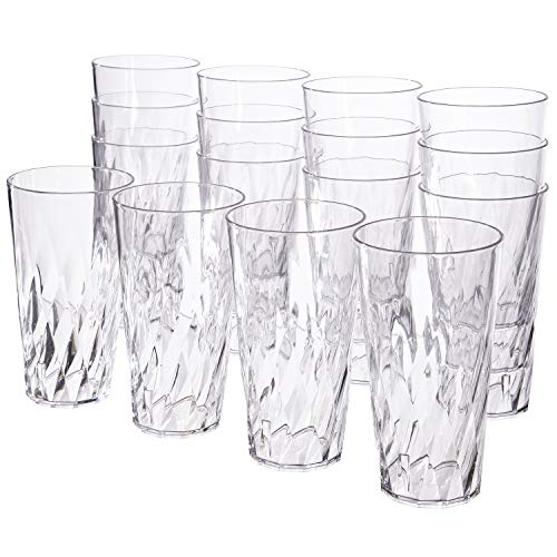 Palmetto 20ounce Clear Plastic Tumblers | set of 16