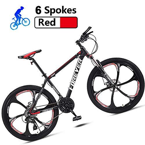 Rennräder Herren Carbon Stahl Fahrrad Hardtail Mountainbike MTB 24 Zoll Mit Gabelfederung Und Scheibenbremse Vorne Und Hinten,Rot,21 Speed