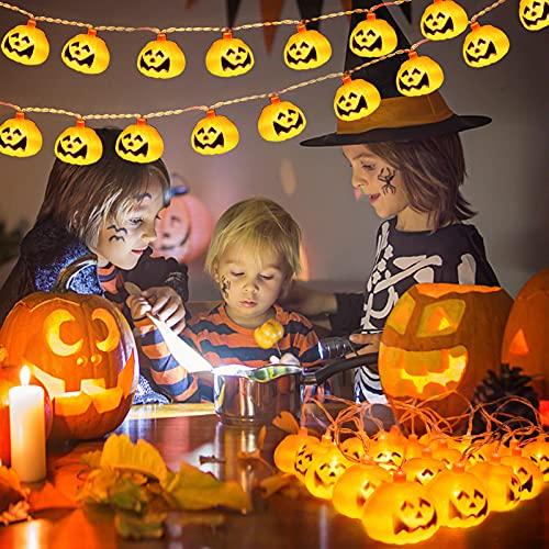 JMEXSUSS Luces de calabaza de Halloween, 20 luces LED de la cadena de Halloween de la batería, 8 modos de luces impermeables de la cadena de la calabaza para la decoración de la chimenea al aire libre e interior