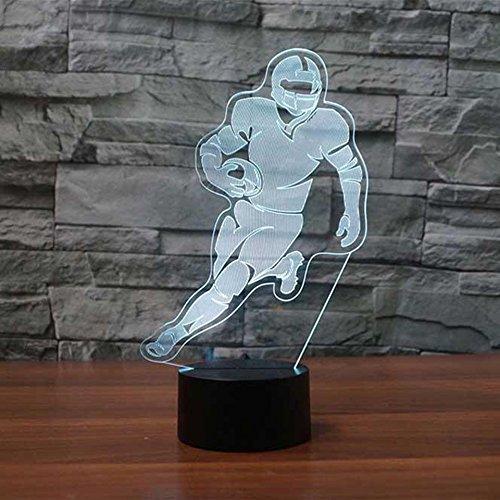 3d-football-spieler Optische Illusions-Lampen, Tolle 7 Farbwechsel Acryl berühren Tabelle Schreibtisch-Nachtlicht mit USB-Kabel für Kinder Schlafzimmer Geburtstagsgeschenke Geschenk