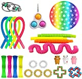 Eghunooze Fidget Toys Pack Sensory Toys Set per Bambini Adulti Semplice Fossetta Fidget Giocattoli Pop Tubes Fidget Toy Mini Marmo Mesh Stress Ball Fidget Box 25 pezzi C. Taglia unica