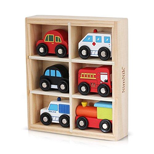 NIMNIK Macchinine Giocattolo per Bambini in Legno Ambulanza Auto della Polizia Locomotiva Taxi Nero Macchina Rossa Bus Londinese - Gioco Educativo di Facile Apprendimento 1 2 3 4 5 6 7 8 9 Anni