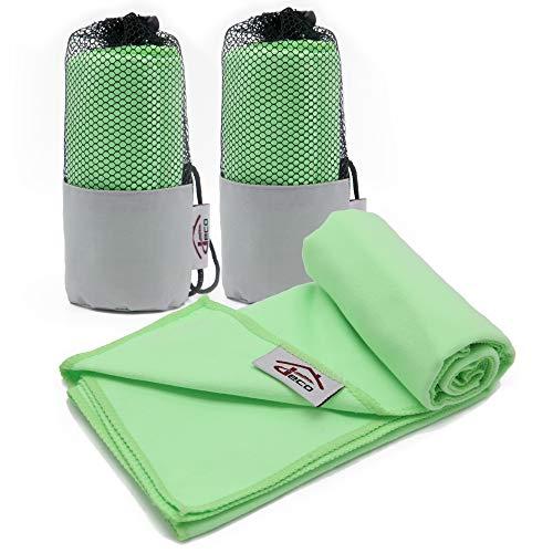 Decocasa Microfibra Compactas, Ligeras y Absorbentes, Verde, Pack 2 Toallas 40x80, 2