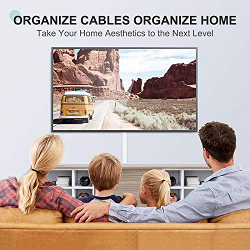 254in Cable Concealer Raceway, Delamu Cord Cover, Wire Hider for Wall Mounted TVs, Cable Hider Cover with Easy Snap-on Elbows, TV Cable Management System, 15x L16.9in W1.18in H0.6in, Large, White