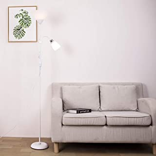 Windsor Home Deco, WH-62084W, A White Metal Floor Reading Lamp, 2-Light Simple Modern Standing Lamp for Bedrooms Office Study Room, 70.1
