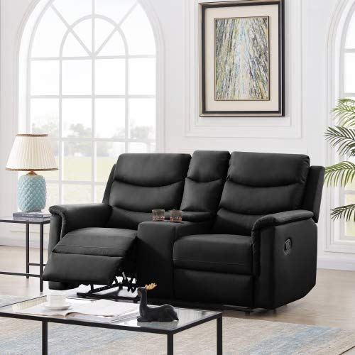 Pannow Double Recliner Loveseat with Console Slate, Double Reclining Sofa with Cup Holder, 2-Seater with Flipped Middle BACKREST Black PU, Theater Seating Furniture Sofa Bed, Black PU