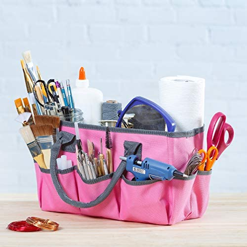 Large Craft Storage Tote Bag with 10 Pockets Scrapbooking Sewing Art Supplies Organizer Caddy product image