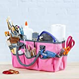 Large Craft Storage Tote Bag with 10 Pockets | Scrapbooking, Sewing, Art Supplies, Organizer Caddy with Handles | Perfect Carrying Case for Travel, School, Medical or Office Supplies | Pink