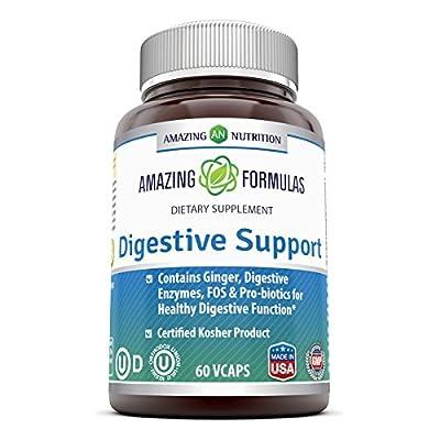 Amazing Nutrition Digestive Support 60 Vcaps - COMPLETE DIGESTIVE SUPPORT - VEGETARIAN FORMULA - KOSHER CERTIFIED