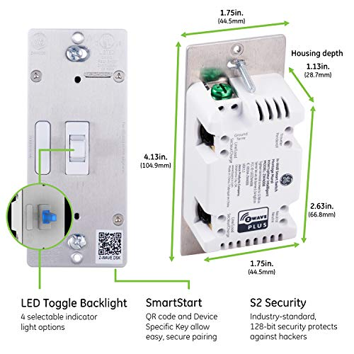 GE 46202 Enbrighten Z-Wave Plus Smart Light Switch with QuickFit and SimpleWire, Works with Alexa, Google Assistant, Zwave Hub Required, Repeater/Range Extender, 3-Way 2nd Gen. Toggle, White 1-pack