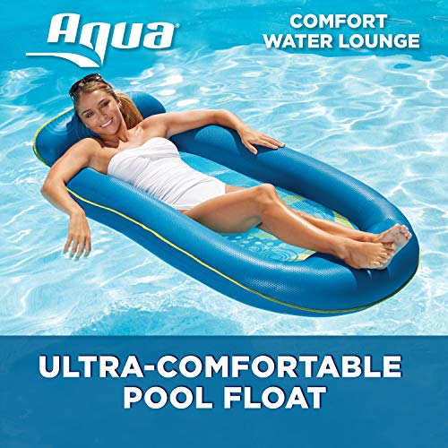 Aqua Comfort Water Lounge, X-Large, Inflatable Pool Float with Headrest &...