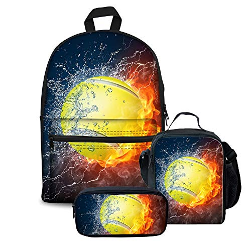 ORGYPET Tennis with Fire and Water Flavor Boys Girls Backpack Sets 3 Piece School Bag Bookbag Lunch Box Pencil Bags Best Gift for Childern