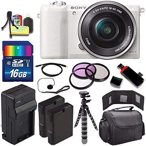 Sony Alpha a5100 Mirrorless Digital Camera with 16-50mm Lens (White) + Battery + Charger + 16GB Bundle 4 - International Version (No Warranty)