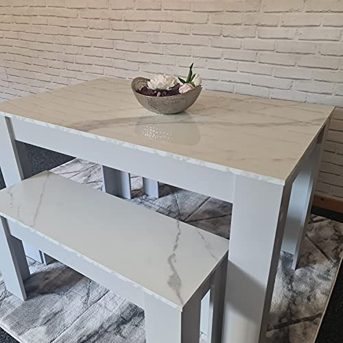 Kosy Koala Marble Effect Dining Table and 2 Benches Set Home Furniture Set space saver Dining Room Furniture set of 4 2