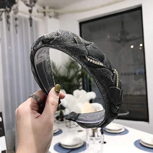 Accessoires pour cheveux Accessoires pour cheveux dentelle maille fil tissé à la main torsion tresse chaîne bande de cheveux à large bord bandeau dames-noir
