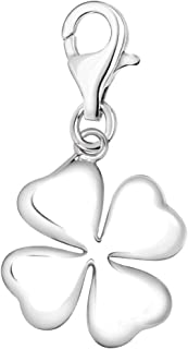Quiges 3D Lucky 4 Leaf Clover Clip On Charm Pendant Silver Plated Women's Jewellery