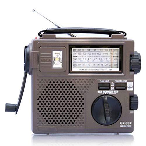 Emergencia Manivela Radio, portable de múltiples funciones al aire libre casero completa banda de FM corto pronóstico del tiempo de difusión, altavoz incorporado y linterna Iluminado(16.9×14.7×55cm)