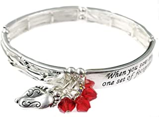Footprints in The Sand Bracelet with 3 Swarovski Crystal Charms (Red)