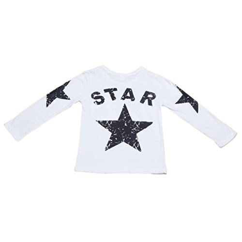Toddler Boys Girls Kids Cute Tops California Star and Bear Print Short Sleeve Fashion White T Shirt Blouse