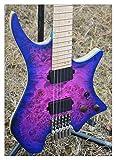 wsc wscheng® chitarra senza testa guitar fret guitar blue/purple colour eye poplar top flame maple neck guitar eelectric guitar (size : 37 inches)