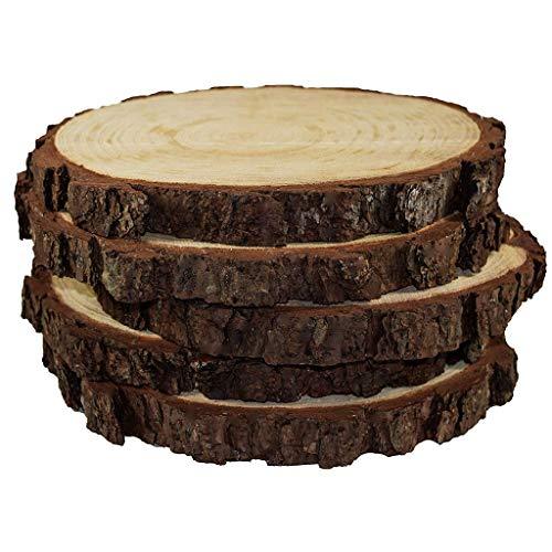 ToDIDAF 5 unidades de rodajas de madera rústica natural con aspecto vintage para bricolaje, manualidades, para exhibir soportes, bodas, quemar madera, manualidades pintadas, centros de mesa rústicos