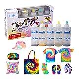 imoli Tie Dye Kit - Peintures textiles permanentes 5 couleurs au néon, Ensemble de teinture en une étape pour enfants, adultes et bricolage à la mode (5 bouteilles de teinture et paquets de teinture)