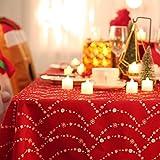 Deconovo Mantel Mesa Rectangular Mantel de Navidad Decoración Dibujo Collar 140 x 200 cm Rojo