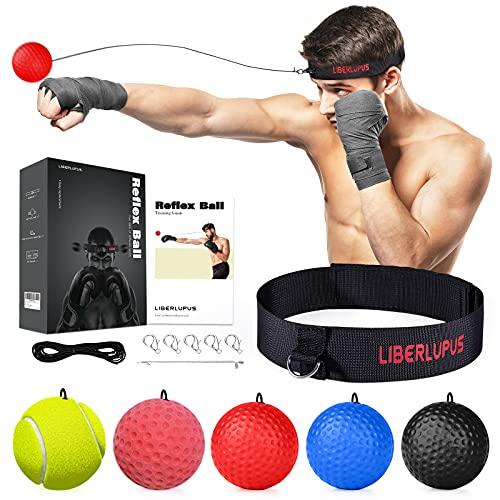 Liberlupus Boxing Reflex Ball, 5 Difficulty Levels Punching Ball with Headband, Home Training...
