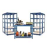 Kit de garaje para principiantes con 4 estanterías de 450 mm de profundidad y una mesa de...