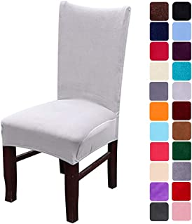 smiry Velvet Stretch Dining Room Chair Covers Soft Removable Dining Chair Slipcovers Set of 4, Light Grey
