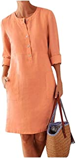 neveraway Womens Mid Long Long Sleeve Lounge Cotton Linen Oversized Dress Top