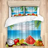 ALLMILL Juego de Ropa de Cama de 3 Piezas Microfibra,Blue Sea Tropical Beach Frutas Hojas de Palma (240x260cm) y 2 Funda de Almohada (50x80cm),Cierre De Cremallera