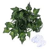 POPETPOP 2M Bend-A-Branch Jungle <span class='highlight'>Vines</span> Artificial <span class='highlight'>Ivy</span> Leaf Pet Habitat Decor with Suckers <span class='highlight'>for</span> Lizard Frogs Snakes and More <span class='highlight'>Reptiles</span>