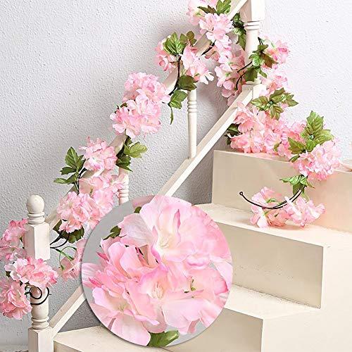 Daliuing 2PCS Pink Cherry Blossom Vine Christmas Garland Flower Leaf Rattan Fairy String Artificial Encrypt Garlands Christmas Garland Artificial Flowers
