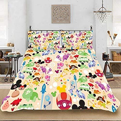Juego de ropa de cama infantil con diseño de Minnie Mouse, funda nórdica con funda de almohada, poliéster, regalo para niñas y niños (220 x 240 cm)