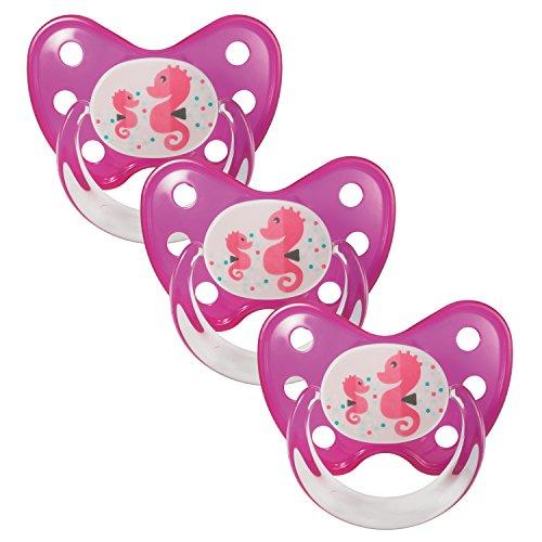 Dentistar® Schnuller 3er Set - Silikon Nuckel in Gr. 3 - ab 14 Monate - zahnfreundlich & kiefergerecht - Beruhigungssauger für Babys und Kleinkinder - Made in Germany - BPA frei - Seepferdchen