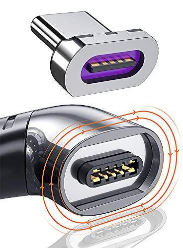 USB C Magnetic Charging Adapter Type C Right Angle Connector 100w PD Charger 480Mbp/s Data Transfer Compatible with MacBook Pro/Air Smartphone Tablet USB-C Devices-Black