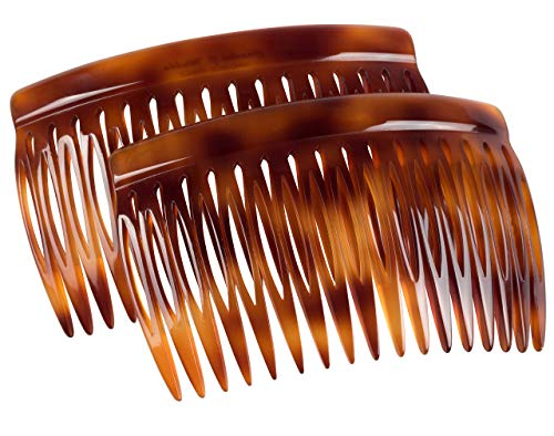 Charles J. Wahba Side Comb (Paired) - 17 Teeth (Mock Tortoise Color) Handmade in France