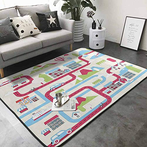 Cute Design Anti-Slip Floor MAT Colorful Cartoon Downtown Cars Ships and Bicycles Balloons Shops Apartments Mountains Life 64'x 96' Floor mats