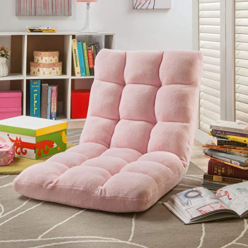 Loungie Microplush Floor Gaming Chair - Rocking Gaming Chair with Back Support, Padded Floor Chair, Light Pink