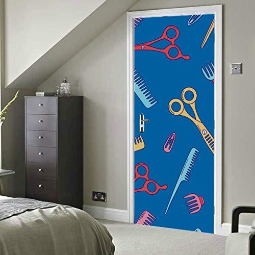 Tijeras de peluquería retro de dibujos animados Vinilo autoadhesivo Papel tapiz extraíble para la puerta de la sala Calcomanía mural 30x79 pulgadas (77x200 cm) 2 piezas