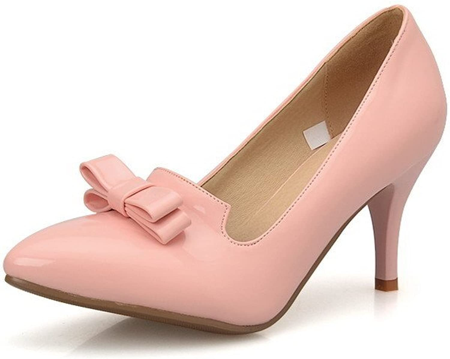 AmoonyFashion Women's Pointed Closed Toe High-Heels Patent Leather Solid Pull-on Pumps-shoes