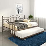 DHP Tokyo Daybed and Trundle with Metal Frame, Full Over Twin Size, Brushed Bronze