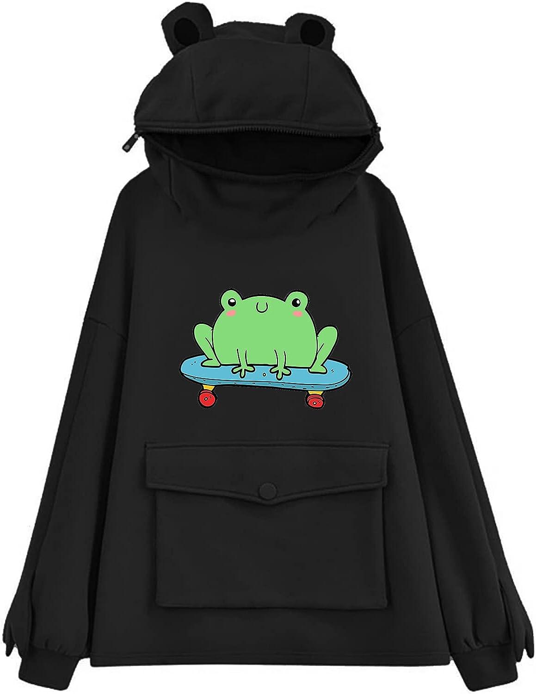 felwors Hoodie for Women, Womens Casual Loose Tops Cute Cosplay Costume Tunic Zipper Womens Girls Sweatshirt with Pocket