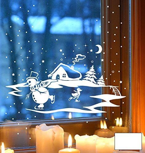 ilka parey wandtattoo-welt® Fensterbild Fensterdeko Winterbild Schneemann und Ente die Schlittschuh fahren Winterhaus Tannen M1703 - ausgewählte Farbe: *Weiß* - ausgewählte Größe: *XL - 60cm breit x 38cm hoch*