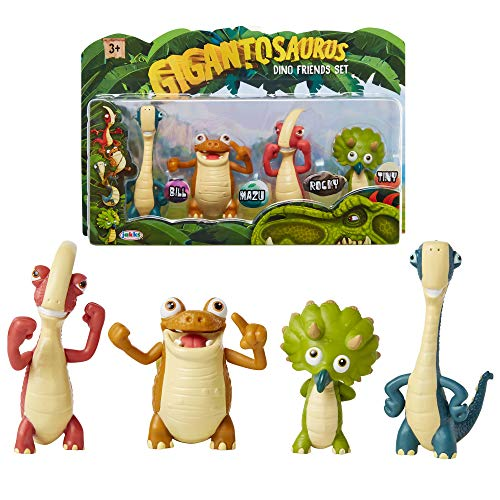 Gigantosaurus Character Figures 4 Pack with Articulated Arms & Tails, Dinosaur Toys Stand Approx. 3-3.5' Tall, Dino Toy Figures for Boys & Girls 3 Years Old & Up