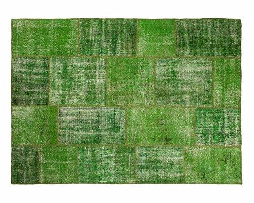 Sukhi Ecrin: Verde Vintage Patchwork alfombras Hechas a Mano de Viejos Alfombras persas (100cm x 140cm / 3' 3.4'' x 4' 7.1'')