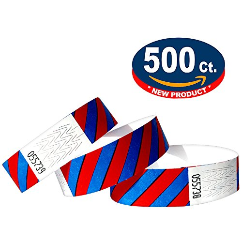 Tyvek wristbands striped (Blue-Red, 500 Pack)
