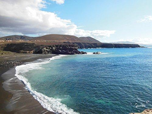 Glücksvilla Lanzarote 1 - Cuadro XXL de 80 x 60 cm, formato horizontal, impresión digital sobre lienzo, bastidor de 2 cm. Canarias de España playera marina con olas blancas, azul y marrón